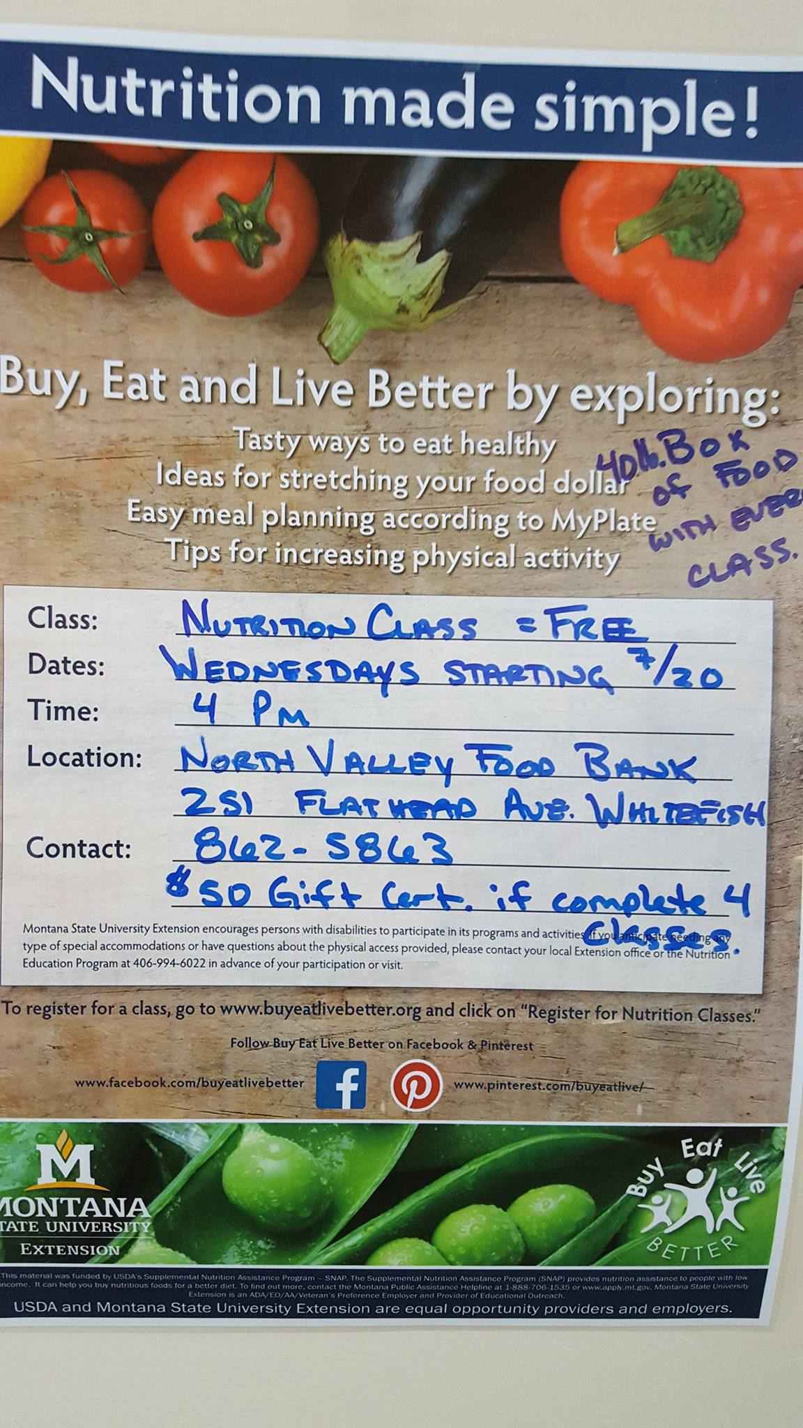 Nutrition Class - Eating Smart / Being Active